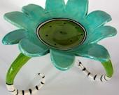whimsical ceramic dish w/ long curly legs & stripes