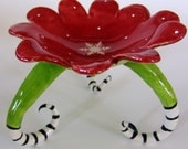 Christmas snowflake dish in red & lime green