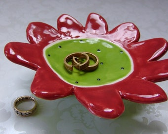 red & lime watermelon pottery dish ceramic flower with dots, striped legs jewelry dish, candle holder