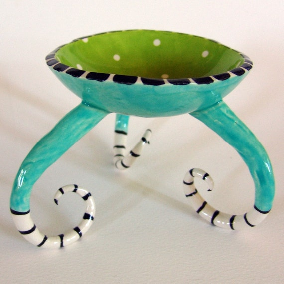 colorful ceramic dish :) with long striped legs
