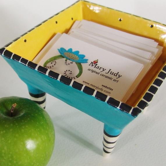 business card Dish w/ striped legs