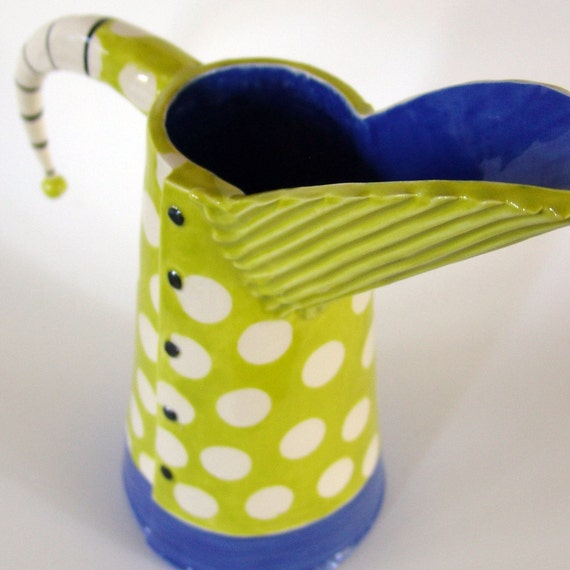 Polka-Dot funky fun ceramic Pitcher or Vase w/ beetlejuice striped handle, chartreuse & bright blue