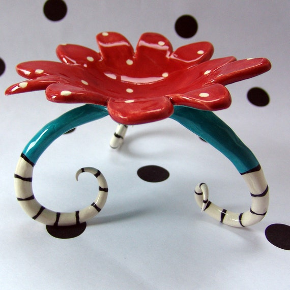 Ceramic Red & Turquoise candle holder for your Dr Seuss decor