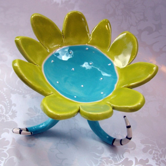 colorful turquoise dotted flower dish