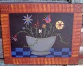 Primitive Floral Painting with Grain Painted Accent, Blue