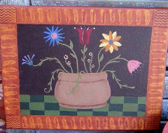 Primitive Floral Painting with Grain Painted Accent, Green