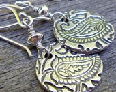 PMC Fine Sterling Silver Round Disc Earrings ...Paisley Drops