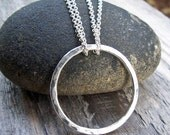 Silver Circle Necklace - Hammered Large Circle Argentium Sterling Silver Infinity Modern Jewelry