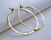 14KT Goldfill Hoop Earrings - Hammered 1 inch Medium Simple Classic