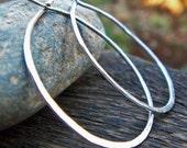 Sterling Silver Hoops - 18G Hammered Hoop Earrings, Large Argentium, Classic