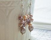 Pearl Cluster Earrings - Sterling Silver, Pastel Mix, Freshwater Pearl, Pink, Purple