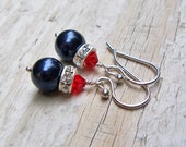 Swarovski Pearl Crystal Earrings Red White and Blue... Patriotic