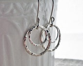 Sterling Silver Hammered Circles Rings Sterling Silver Earrings - Modern jewelry, classic