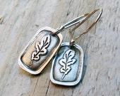PMC Fine Silver Earrings - Sterling Silver, Fine Silver, Oak Leaf, Autumn, Fall, Rustic