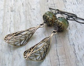 Antiqued Brass Dangle Earrings -  Moss Green Glass, Antiqued Vintage Style, Brass Filigree, Victorian, Glass Bead Earrings