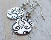 Fine Silver Floral Earrings - PMC Sterling Silver Swirls Vines Printed, Dangle, Artisan