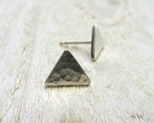 Triangle Stud Earrings - Fine Silver, Sterling Silver, Modern, Posts, Geometry, Textured, Hammered, Sterling Silver - BeadinByTheSea