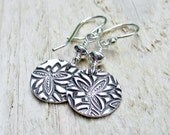 Silver Dangle Earrings - Fine Silver, Sterling Silver, Cherry Blossom Print, Spring, Mothers Day, Floral, Artisan