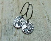 Stamped Silver Earrings - PMC, Fine Silver, Sterling Silver, Oval Disc, Damask Print, Petite