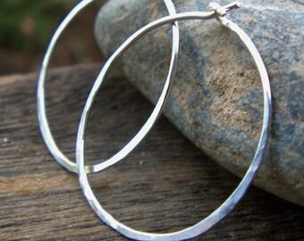 Sterling Silver Hoop Earrings - Argentium Sterling Earrings Hammered Medium 1 inch