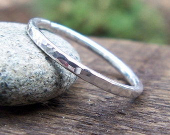 Stacking Ring, Wedding Band, Skinny, Hammered Ring, Silver Ring, Bridal, Unisex, Fine Silver, 999, Shiny, Made to Order, Gift for Him or Her