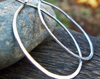 Sterling Silver Hoops - 18G Hammered Hoop Earrings, Large Argentium, Classic
