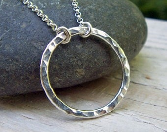 Silver Circle Necklace - Sterling Silver, Hammered Circle, Argentium Silver, Medium, Eternity Necklace