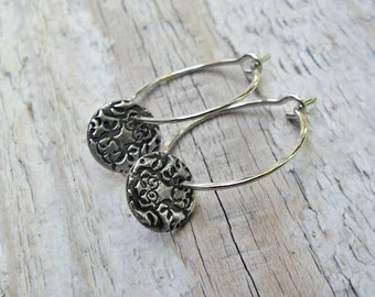 Sterling Silver Hoops with metal charms, PMC, Fine Silver, stamped silver, petite
