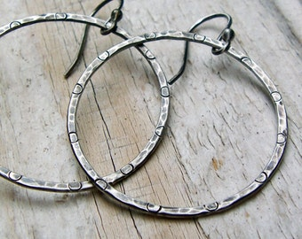 Sterling Silver Hammered Hoop Earrings - Oxidized Gray Rustic Patterned Antiqued