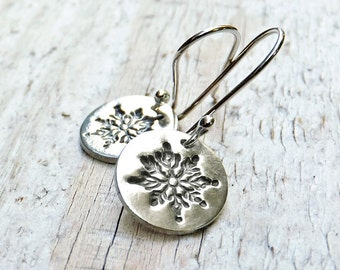 Silver Snowflake Earrings, Sterling Silver Earrings, PMC Metal Clay Fine Silver Earrings, Winter Jewelry, Holiday, Gift under 35