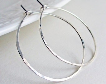 Sterling Silver Hoops - Hammered Hoop Earrings Medium Large Argentium Silver