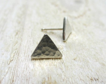 Triangle Stud Earrings - Fine Silver, Sterling Silver, Modern, Posts, Geometry, Textured, Hammered, Sterling Silver