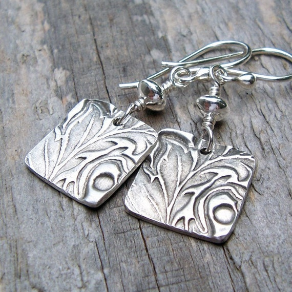 PMC Fine and Sterling Silver Earrings ... Flourish Squares