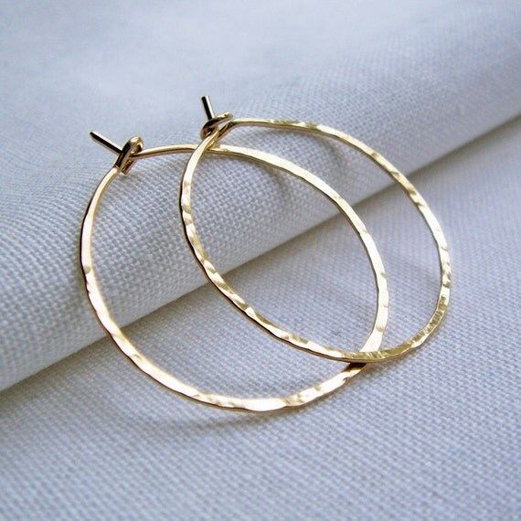 Gold fill Hoop Earrings, Gold Filled Hoop Earrings, Hammered Hoop, Dainty, 1 inch, Medium, Simple Classic Hoops, 14KT Gold Fill, Plain Hoops