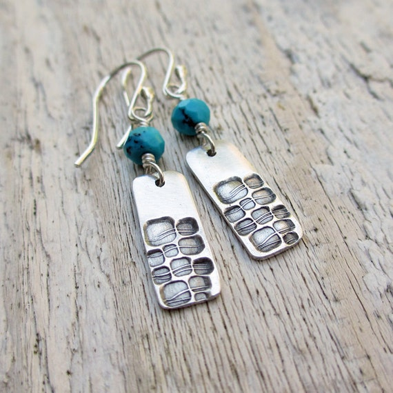 Silver & Turquoise Earrings...  PMC, Fine Silver, Sterling Silver, Rectangle, Dangle, Gemstone, Geometry, Stamped Silver