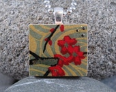 SALE Red Blooms- A Scrabble Tile Necklace in a Tin