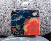 Blue and Orange Blooms - A Scrabble Tile Necklace in a tin