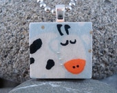 SALE Bessie the Cow - A Scrabble Tile Necklace in a tin