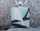 SALE Bird on a Branch-A Scrabble Tile Necklace in a tin