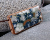 SALE Royal Garden - A Bamboo Tile Necklace on a leather cord