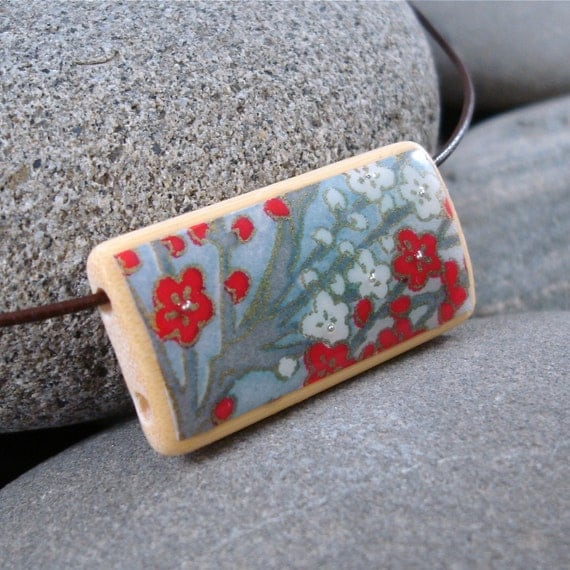 Cherry Blossom Branch - A Bamboo Tile Necklace on a leather cord
