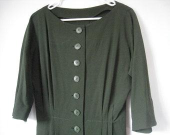 1980s button up olive dress / 80s rayon raglan dress / Olive rayon pleated dress