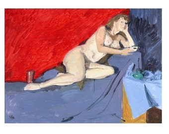 SALE  - Original Oil Pianting of Reclining Female Nude - Tea Party with Boob Job