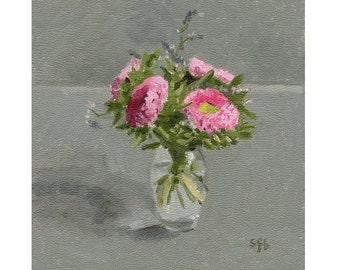 Original Oil Painting, Floral Still Life: Little Pink Flowers