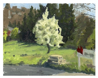 Original Landscape Oil Painting of Spring Green and Apple Blossoms - Blooming Tree