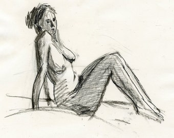 Original Drawing Female Charcoal Figure Sketch - Woman Seated, Thinking - SALE