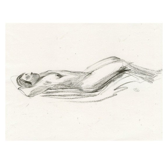 Original Charcoal Nude Life Drawing Gesture Sketch of Reclining Female - Jennifer, Lying on her back