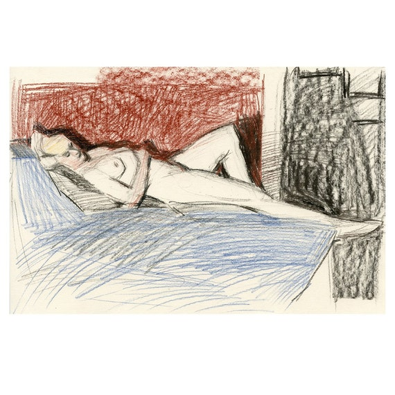 Original Charcoal Life Drawing Reclining Female Nude Gesture Sketch - Caterina Odalisque