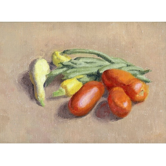 Original Framed Oil Painting - Still Life with Garden Vegetables - Tomatio, green beans, yellow squash Veggies