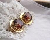 Golden Glow - Big Mod Vintage Golden Topaz Glass Clip Earrings